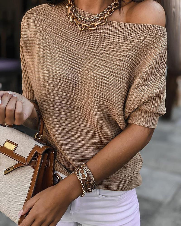 Plain Half Sleeve Casual Sweater