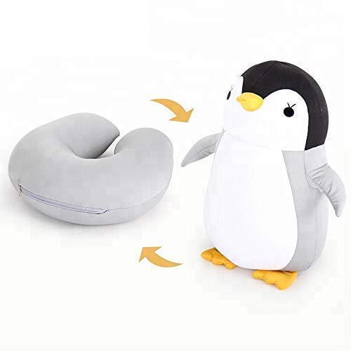 Nestable Convertible 2-in-1 Travel Neck Pillow & Toy Penguin