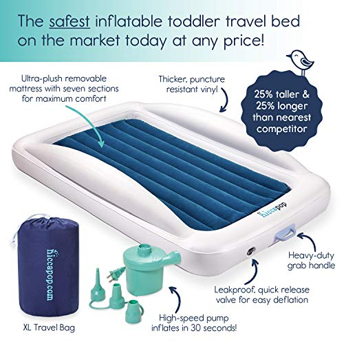 Hiccapop Inflatable Toddler Travel Bed and Mattress with Safety Bumpers