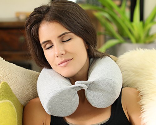 Twisting Memory Foam Travel Pillow for Neck, Chin, Lumbar Support