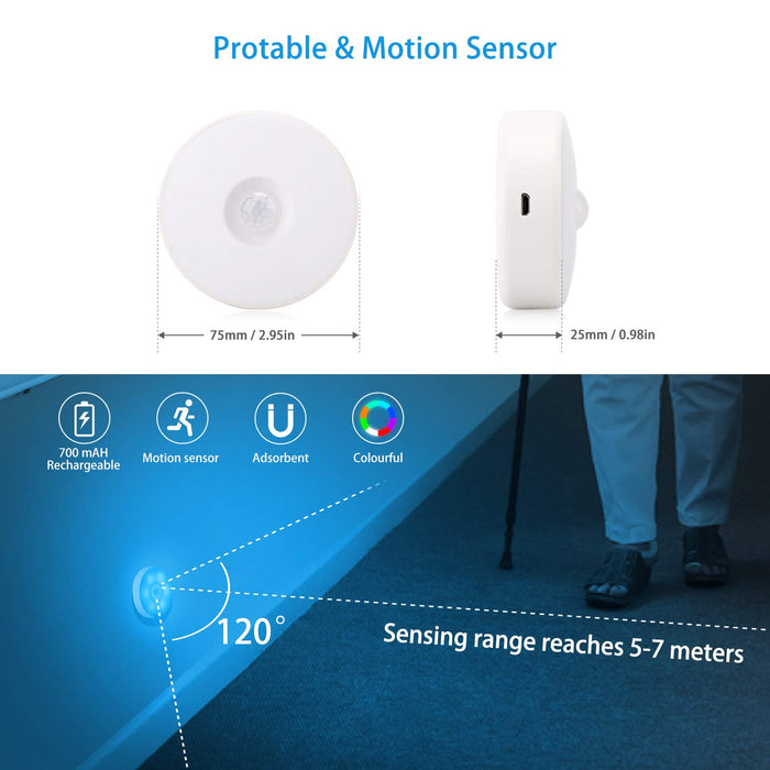 Motion Sensor LED Night Light Li Battery USB Rechargeable, 8 Lighting Colors, for Hallway, Cabinet, Closet, Stairs (2 Pack)