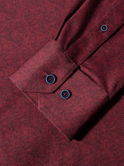 Bugatchi Men's Melange Long Sleeve Shirt in Wine