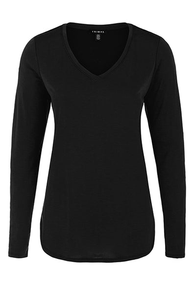 Solid Jersey V-Neck Top