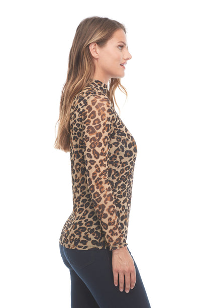 FDJ Mesh Cheetah Print Top