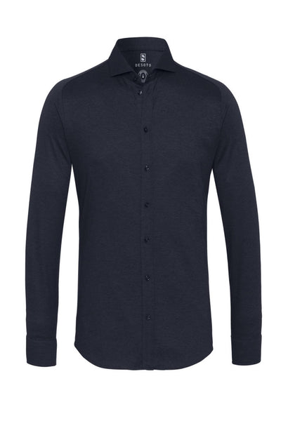 Desoto Long Sleeve Sport Shirt New Hai in Solid Navy