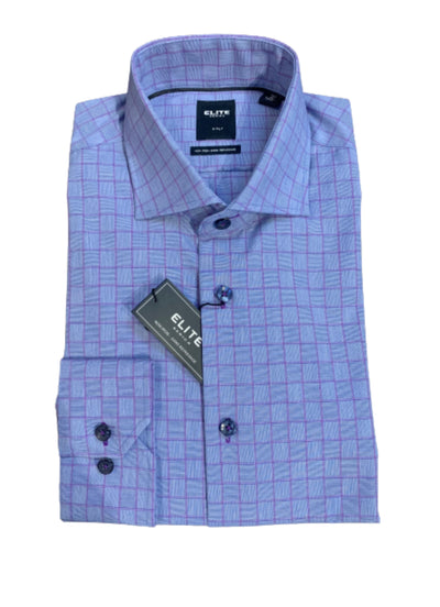 Serica Long Sleeve Dress Shirt Blue Purple Check