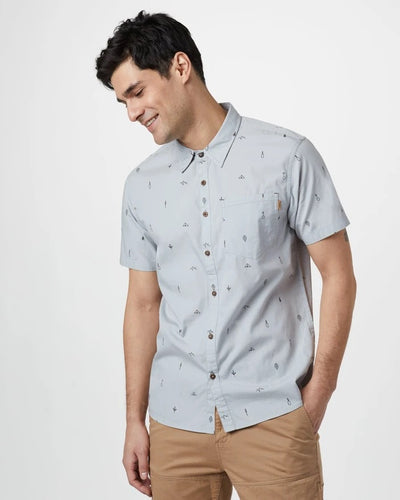 Tentree Mens Cotton Short Sleeve Button Up (HI Rise Grey)