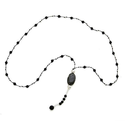 Suzie Blue Lava Stone Necklace With Pebble in Silver Plate
