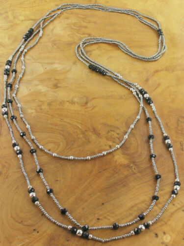 Suzie Blue Black & Silver Long 3 Strand Necklace