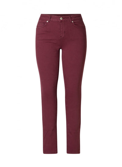 Yest Mell Mid Rise Slim Fit Jean in Dark Wine