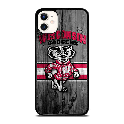 WISCONSIN BADGER WOODEN LOGO iPhone 11 Case Cover