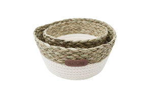 WHITE COTTON AND STRAW BASKETS