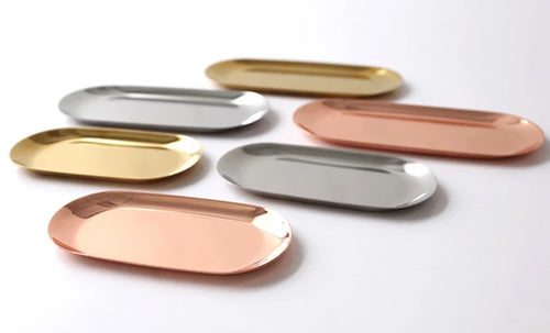 Metallic Oval Jewelry Dish