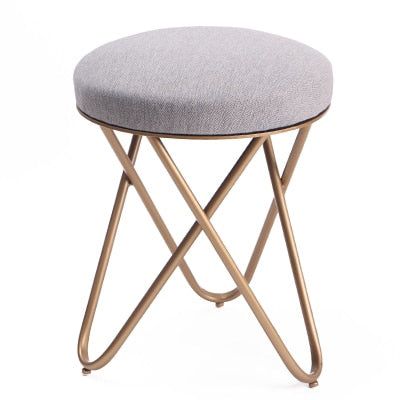 Round Stool with Metal Frame