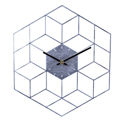 Gray Geometric Wall Clock