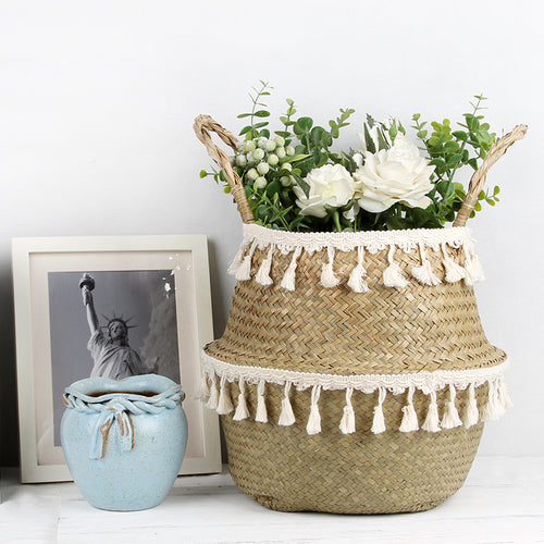 Jane Rattan Basket with Tassel