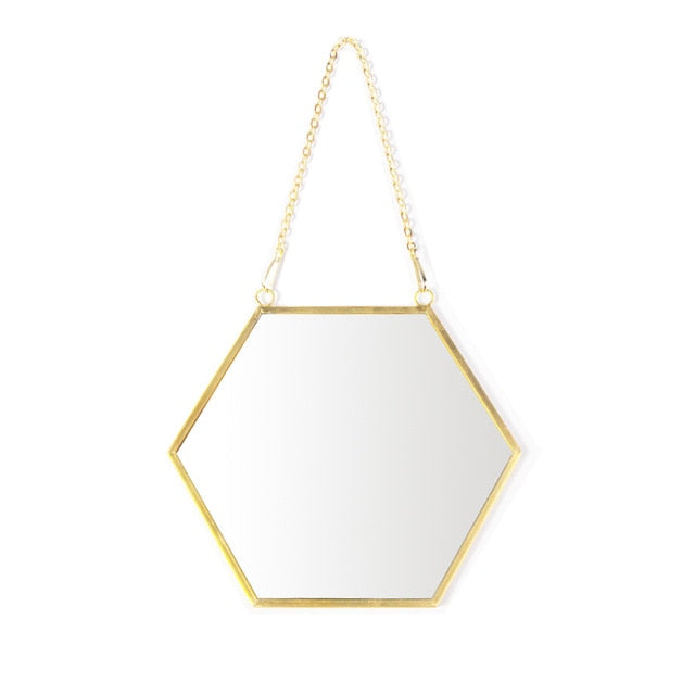 Hexagon Mirror with Gold Frame