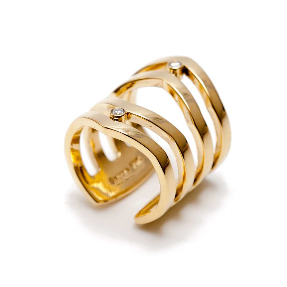 Maria Samora - 18k Gold Diamond Strata Ring