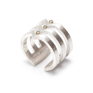 Maria Samora - Sterling Silver with Diamonds Strata Ring