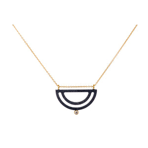 Strata 1/2 Moon Necklace w/ Diamond