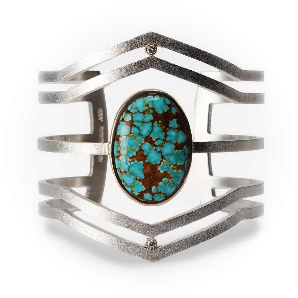 Strata Cuff Sterling Silver Number 8 Turquoise