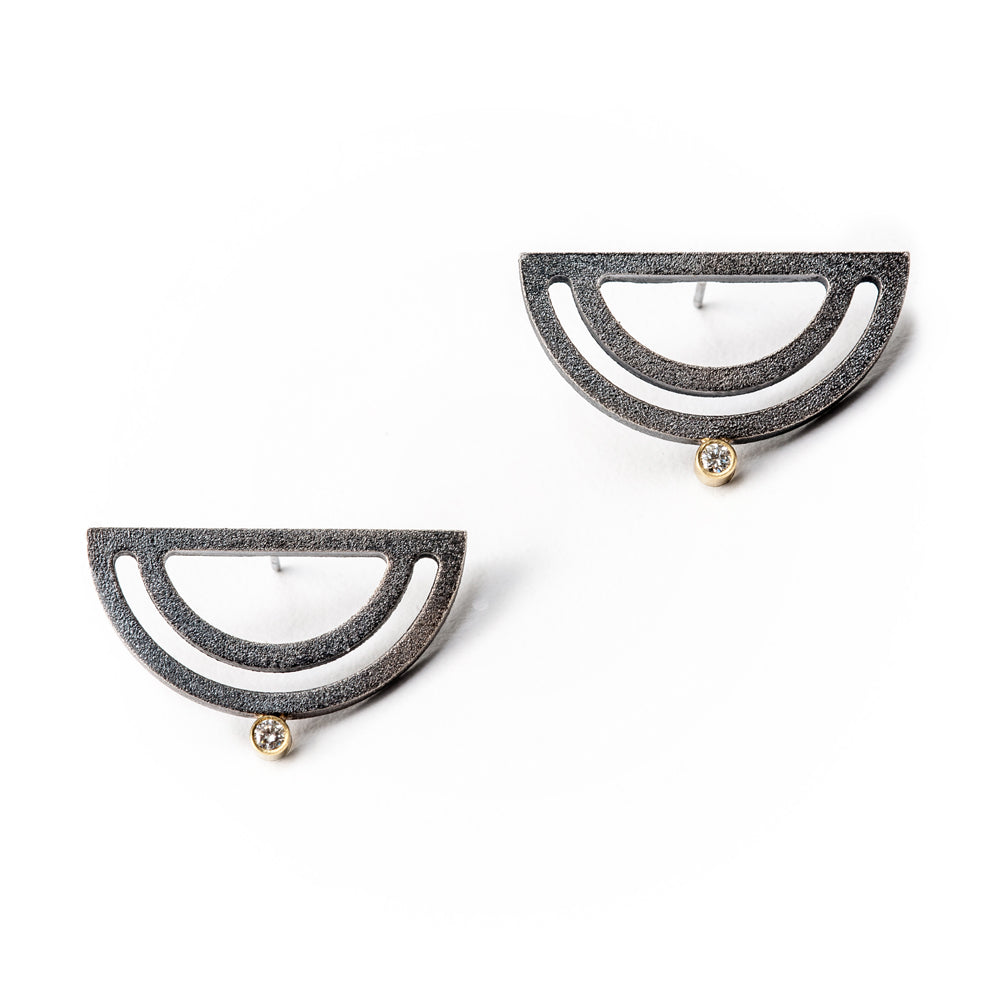 Strata 1/2 Moon Earrings w/ Diamonds