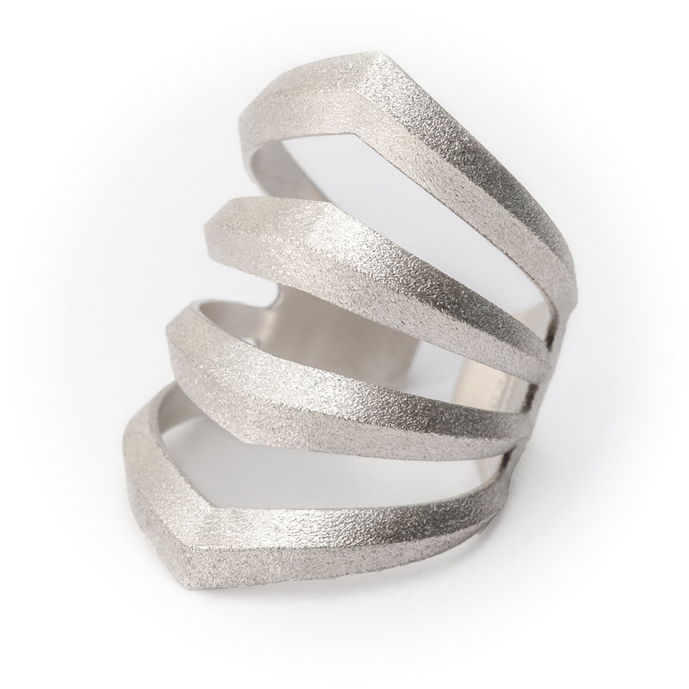 Rhomboid Ring Pierced Sterling Silver