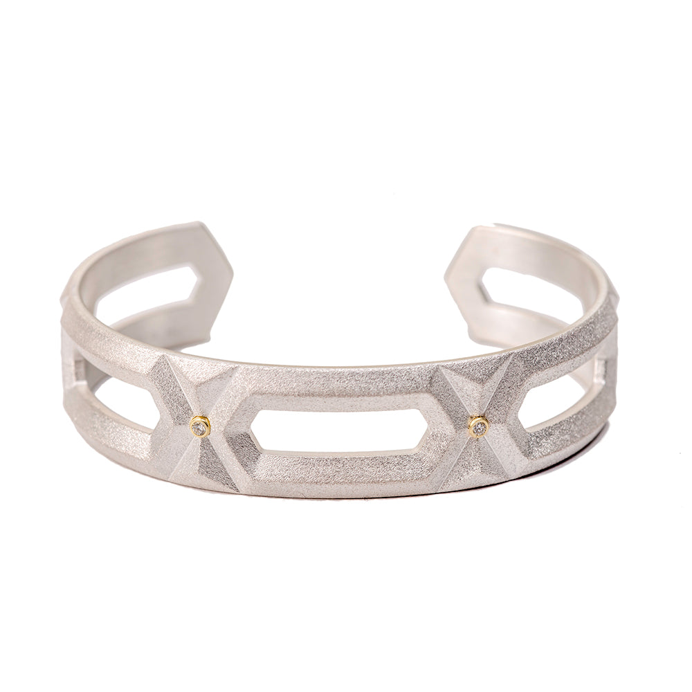 Hexagon Cuff with Diamonds