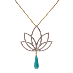Lotus necklace with Kingman Turquoise briolette