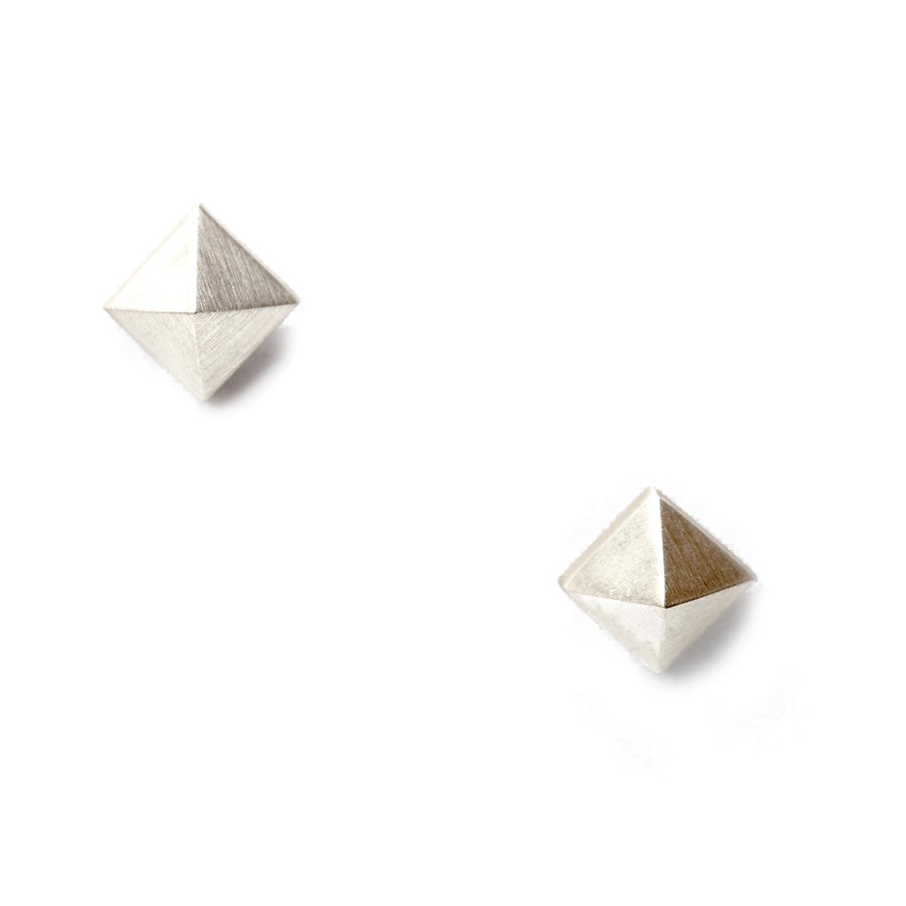 Maria Samora - Sterling Silver Pyramid Stud Earrings