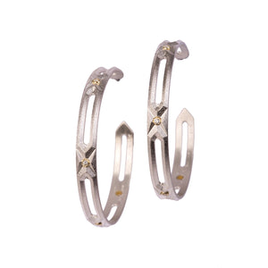 Hexagon Hoop Large Earrings with Diamonds