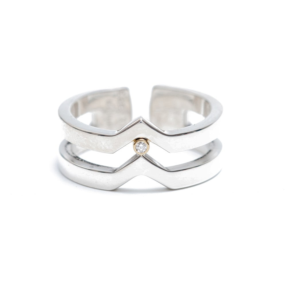Maria Samora - Sterling Silve V Strata Narrow Ring