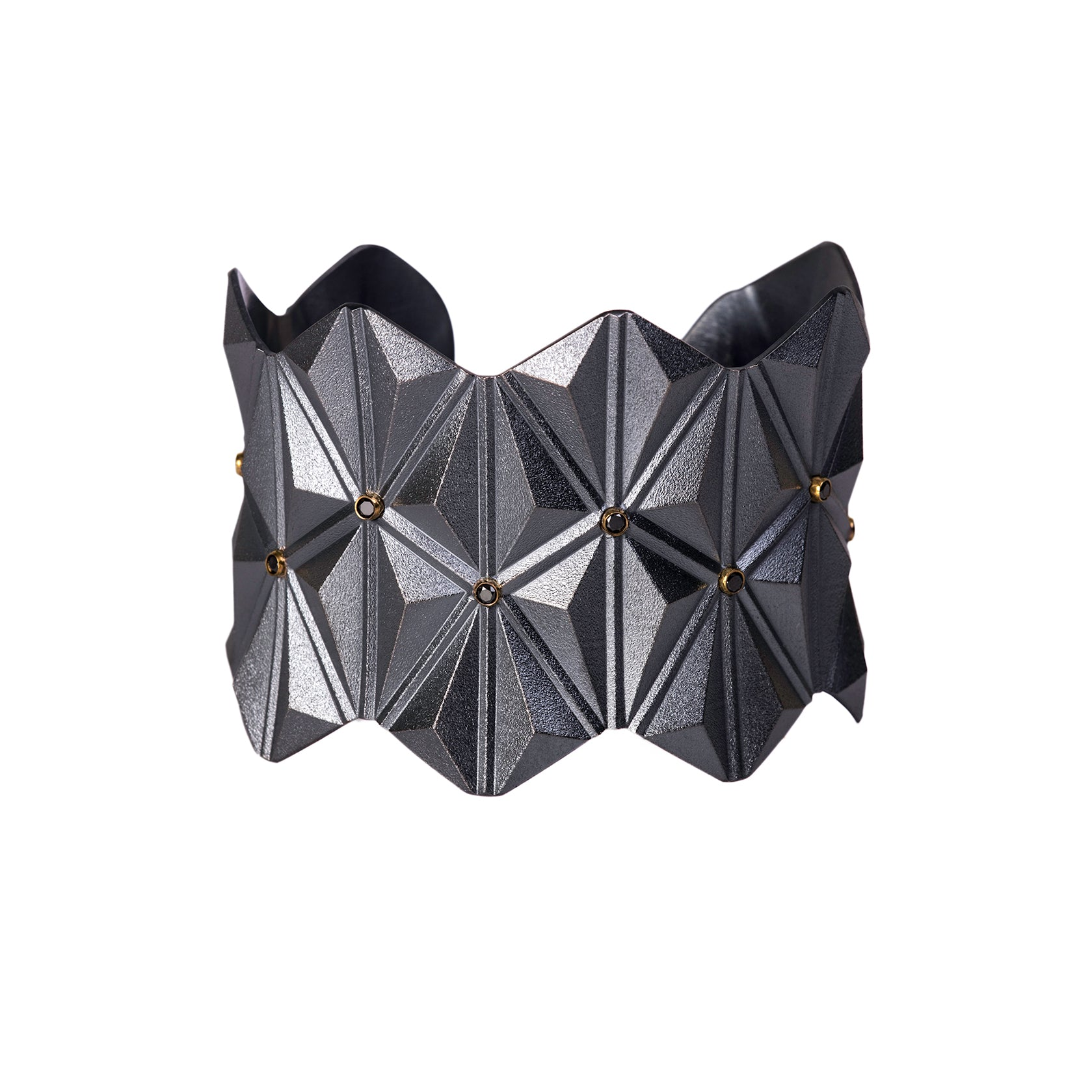 Tetra Wide Cuff with Black Diamonds