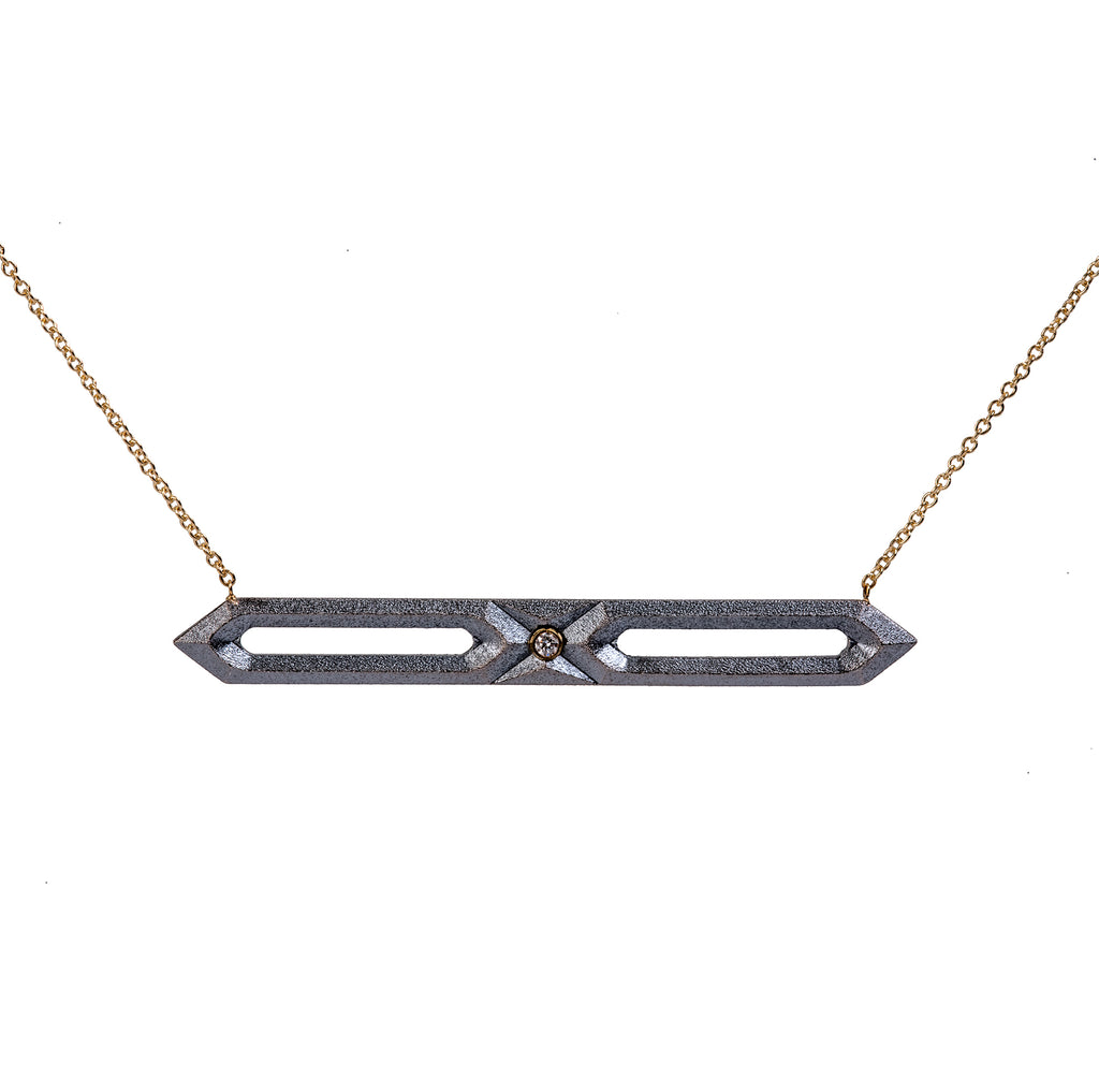 Hexagon Bar Necklace with Diamond