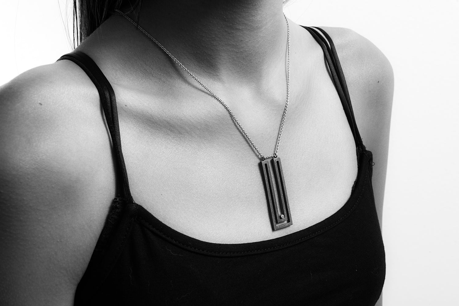 Strata Rectangle Pendant Oxidized Sterling Silver