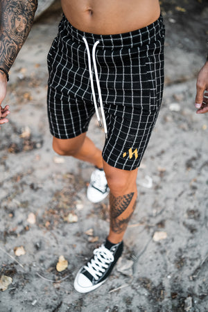 Mugsstreet Fine Line Chess Shorts - Black & White