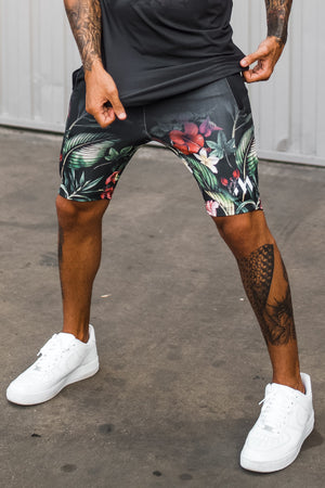 Mugsstreet Fading Tropical Shorts - Black
