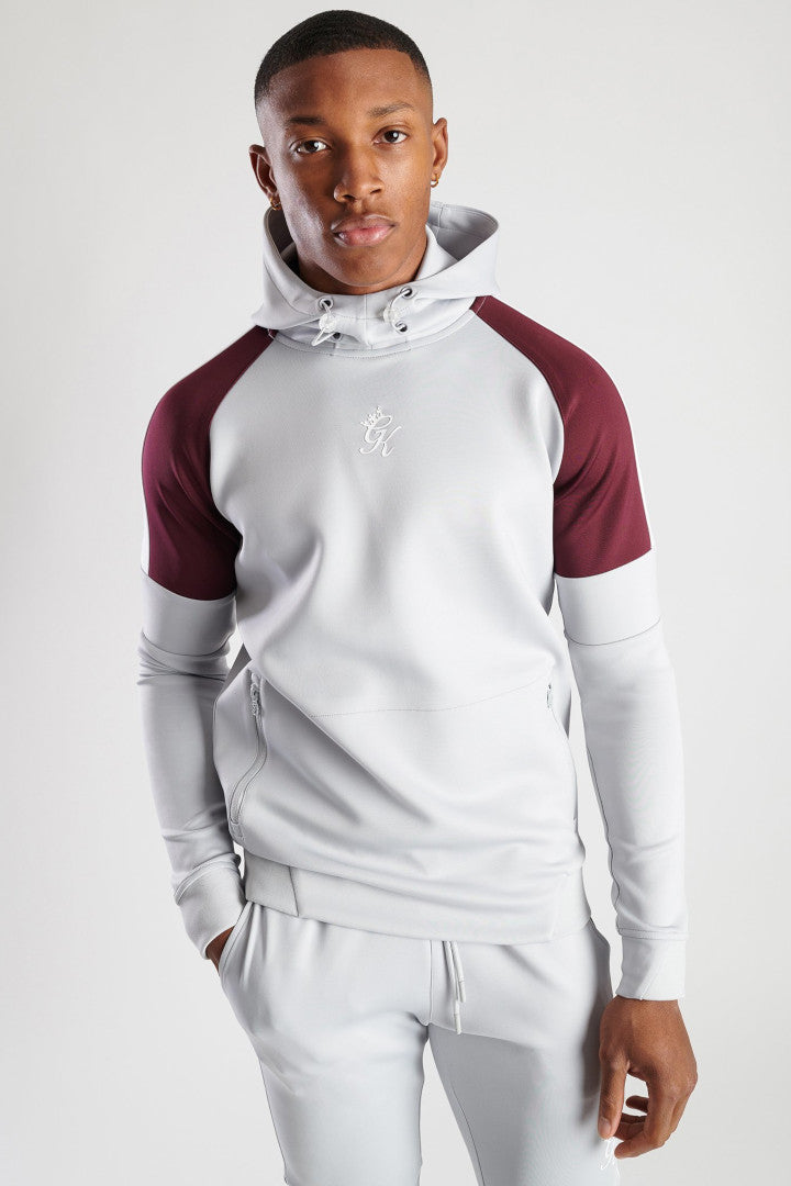 Gym King Core Plus Contrast Poly Hoodie Microchip - Burgundy & Grey