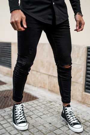 Gym King Skinny Denim Jeans Rip And Repair - Black