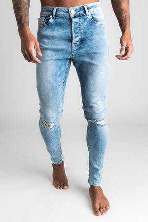 Gym King Denim Paco Jeans Rip And Repair - Mid Wash Blue