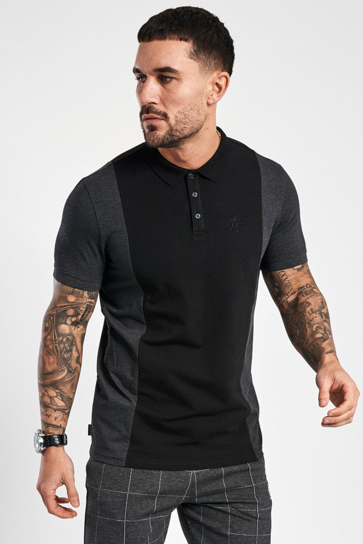 Gym King Nickson Polo - Charcoal & Black - Last Size M