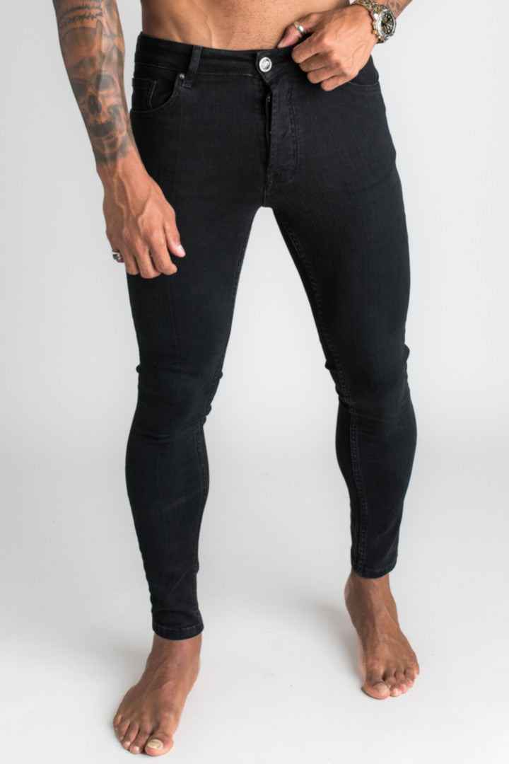 Gym King Plain Skinny Denim Jeans - Black-Krave Urban Store