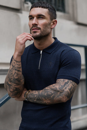 Gym King Victor Zip Polo - Navy Blue