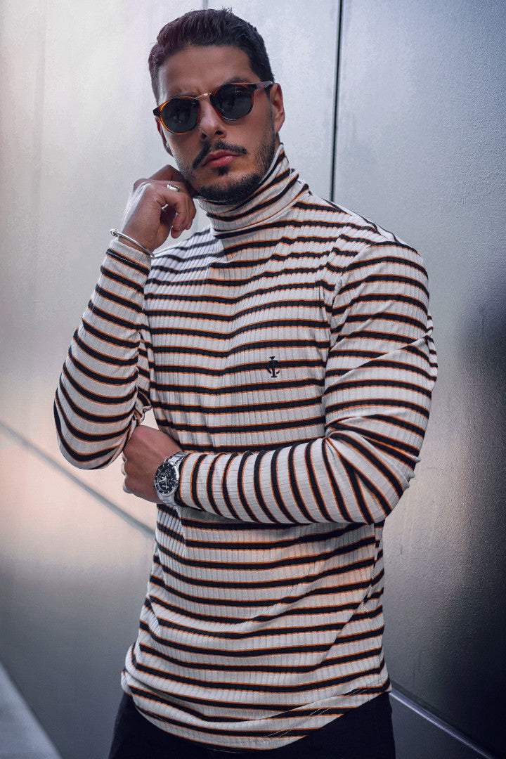 ICwear High Neck Long Sleeve Stripe - White, Black & Orange