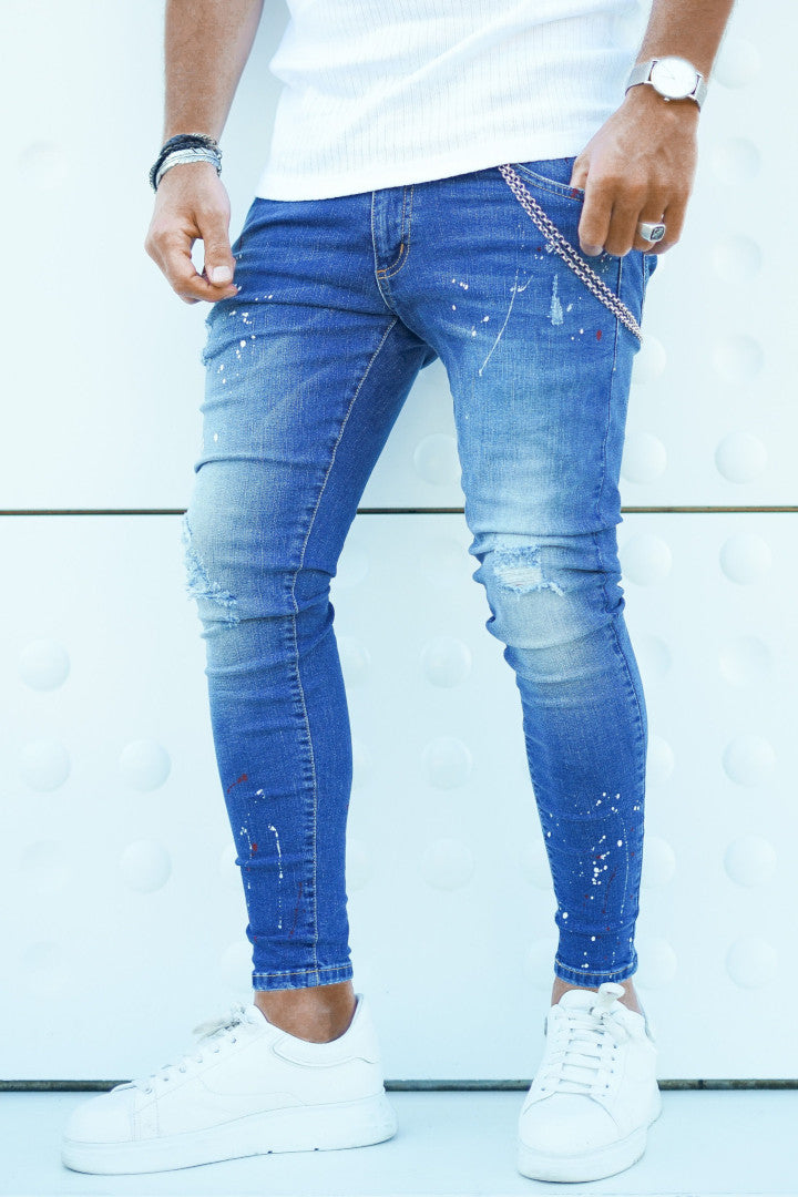 ICwear Jeans Pinted - Blue - Last Size S