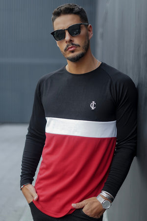 ICwear Long Sleeve Tricolor - Black, White & Red-Krave Urban Store