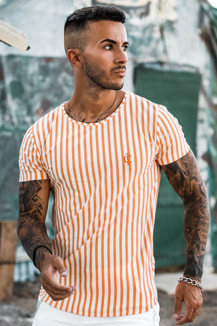 ICwear T-shirt Stripes - Orange - Last Size L