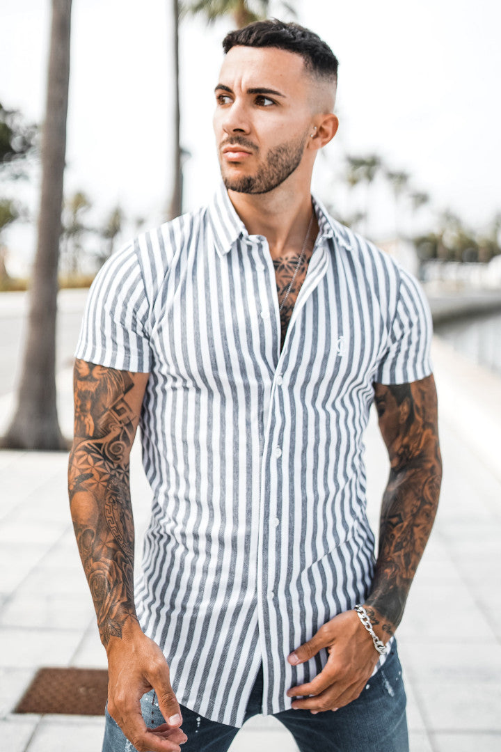 ICwear Urban-Shirt Stripes - Blue & White