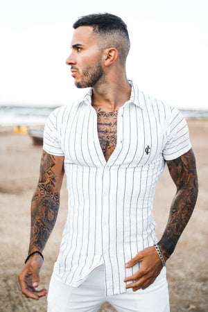 ICwear Urban-Shirt Stripes - White - Last Size S