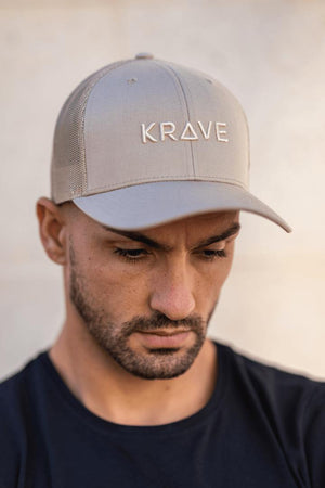 Krave Trucker Curved Cap – Sand - Krave Urban Store